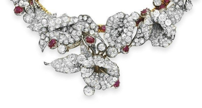 Detail view; a stunning late ruby and diamond flower necklace from Victorian era, circa 1880.