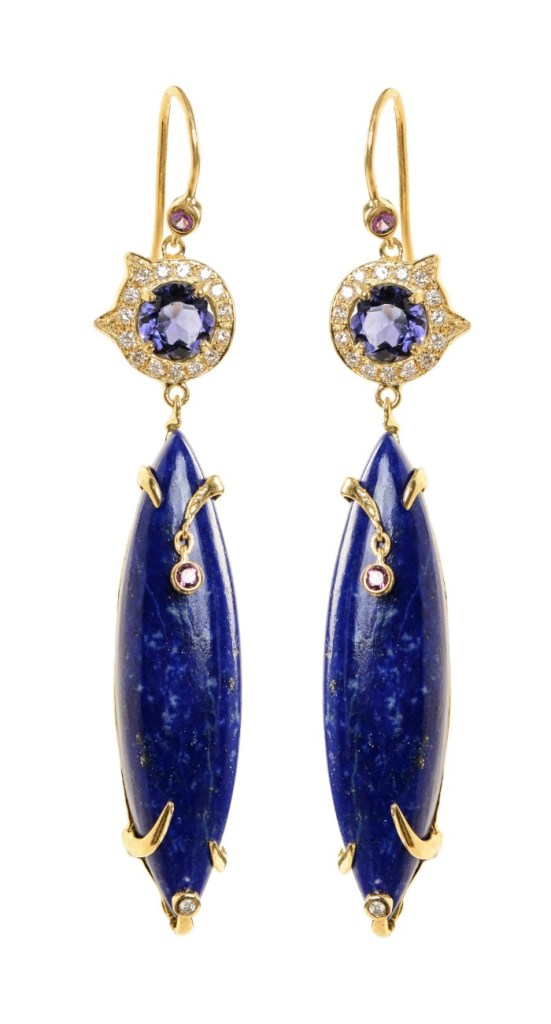 A beautiful pair of gemstone and diamond earrings from Unhada jewelry