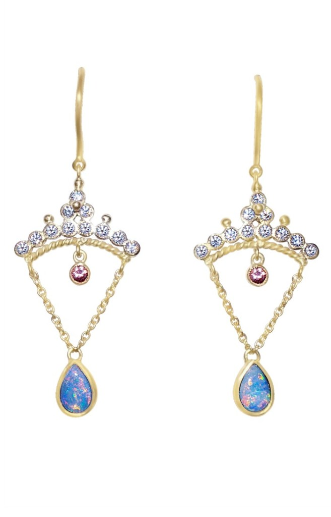 A beautiful pair of opal and diamond earrings from Unhada jewelry's Diadem collection