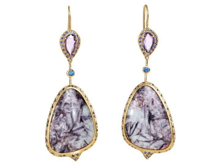 A magnificent pair of Unhada jewelry earrings featuring incredible leopoldite stones.