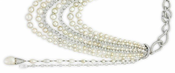 A multi-strand natural pearl and diamond necklace. So very fabulous.