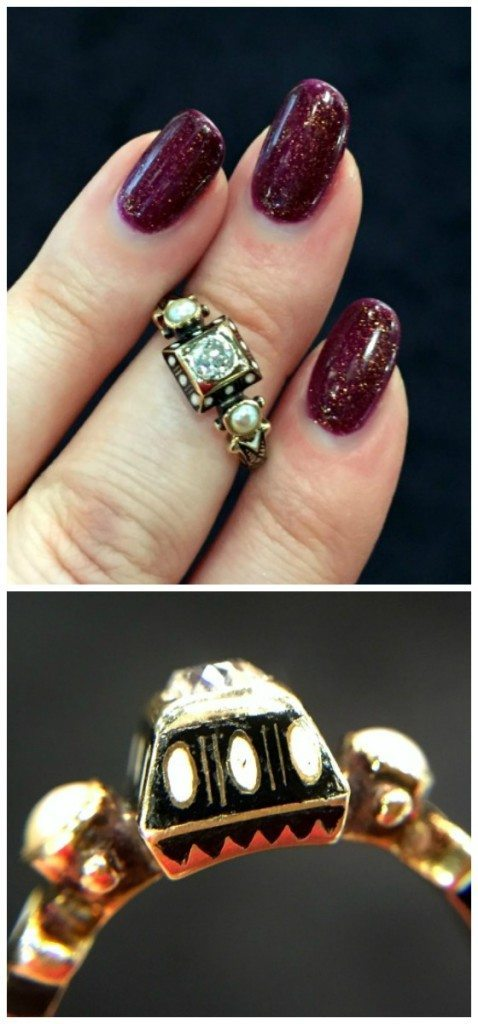 A rare and beautiful antique Renaissance revival diamond ring in gold with black and white enamel details. At Roy Rover.