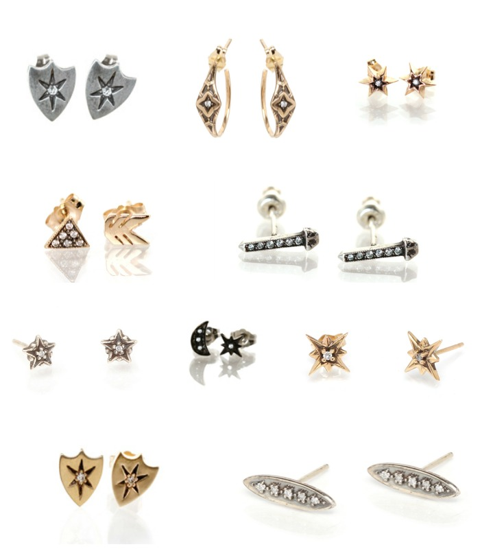 A variety of diamond studs by Workhorse jewelry.