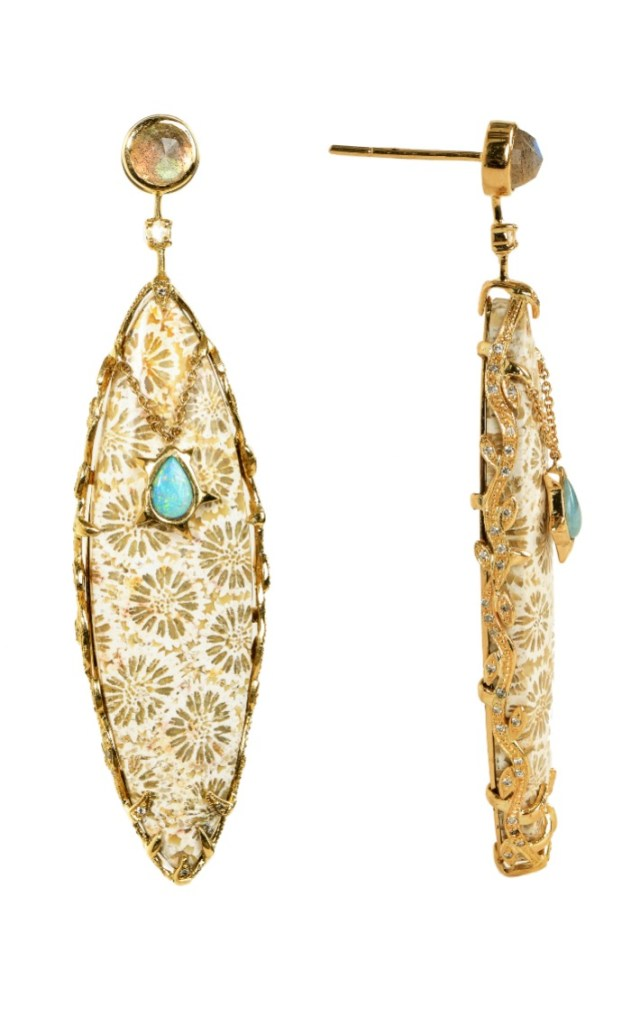An incredible pair of gemstone earrings from Unhada jewelry's Dynasty collection