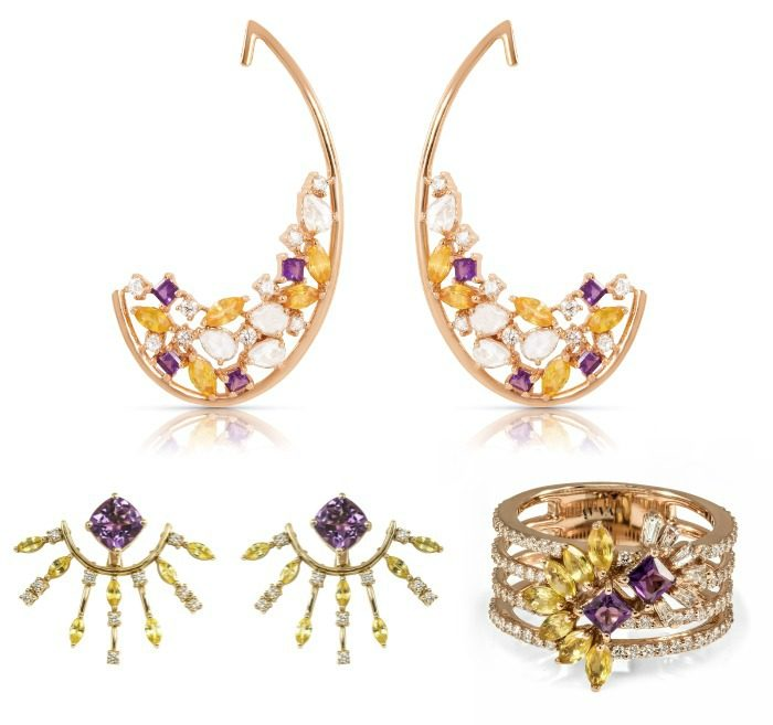 The Ayva jewelry Kalena earrings, Alina ring, and Riva earrings use yellow sapphires, amethyst, and diamonds with yellow gold for a beautiful and unique color combination.