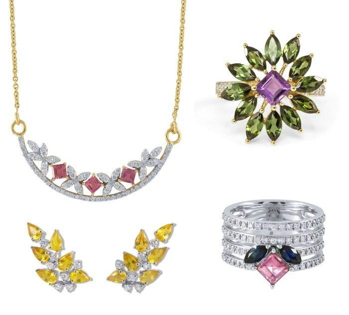 The May ring, Mila earrings, Nina ring, and Raina necklace by Ayva jewelry