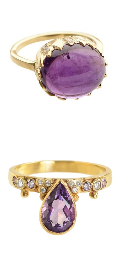 Two stunning amethyst and diamond rings by Unhada jewelry.