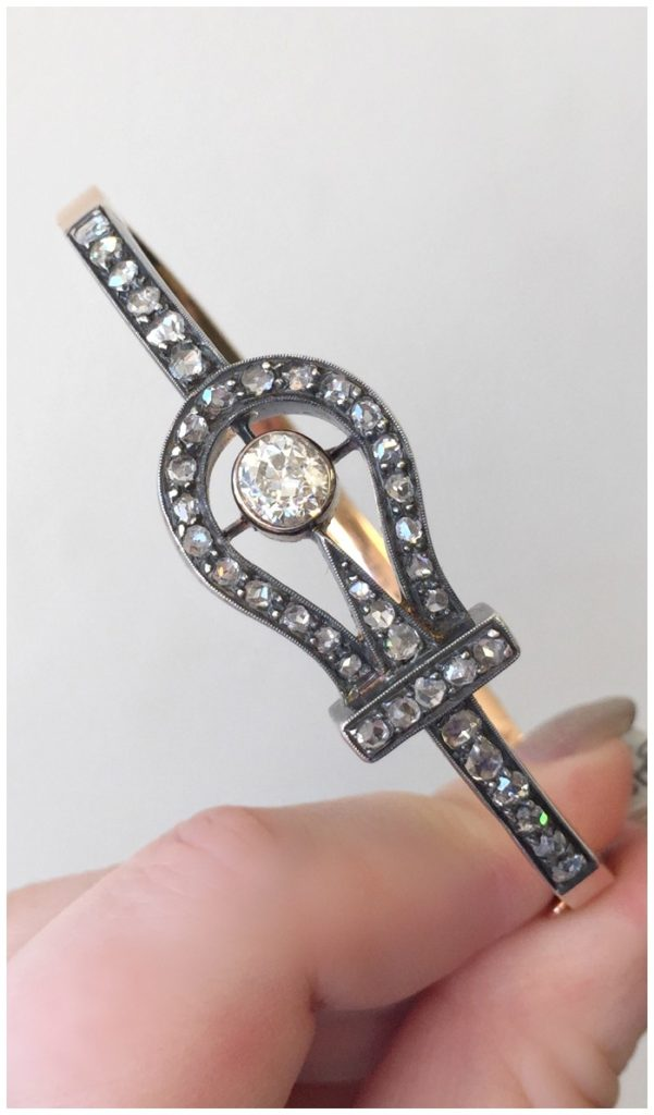 A fantastic antique Victorian diamond bracelet with an equestrian inspired motif. At A Brandt and Son.