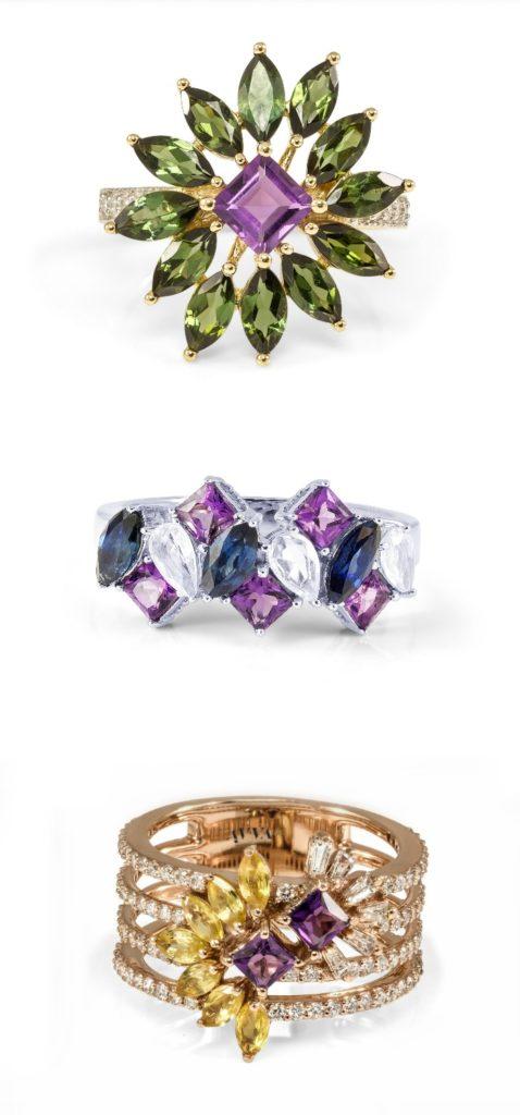 Beautiful gemstone and diamond rings by Ayva jewelry