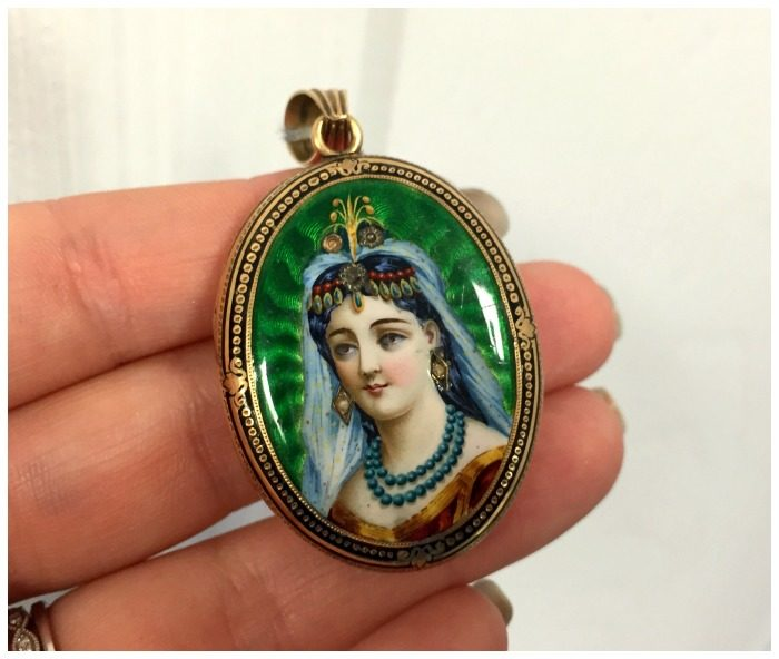 Detail view of an incredible antique Victorian portrait locket from A Brandt and Son