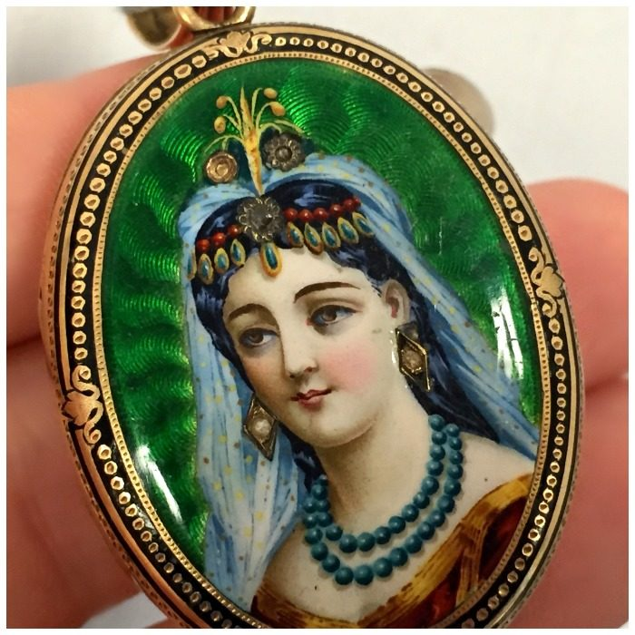 Detail view of an incredible antique portrait locket from A Brandt and Son