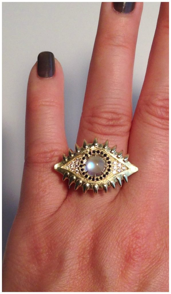 Eye of the Beast ring from Lisa Kim's new collection, The Seabeast. Blue moonstone and black and white diamonds in yellow gold.