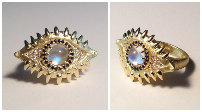 Eye of the Beast ring from Lisa Kim's new collection, The Seabeast. With blue moonstone and black and white diamonds in yellow gold.