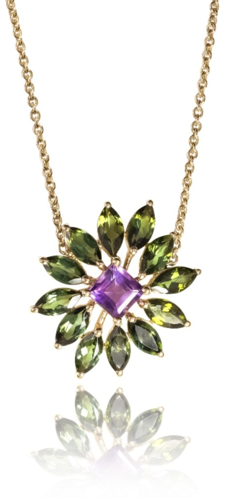 The Ayva jewelry Nina necklace. Green tourmaline with diamonds and amethyst.
