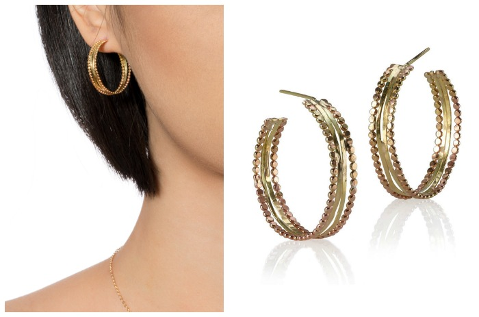 The Sophie Ratner Luner earrings. Handmade in 18k and 14k gold.