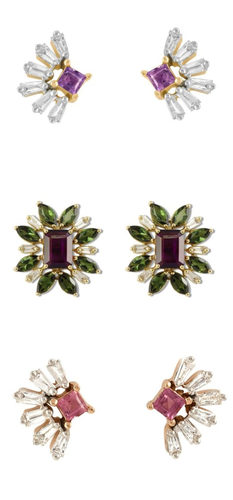 Three glamorous pairs of diamond and gemstone stud earrings by Ayva jewelry