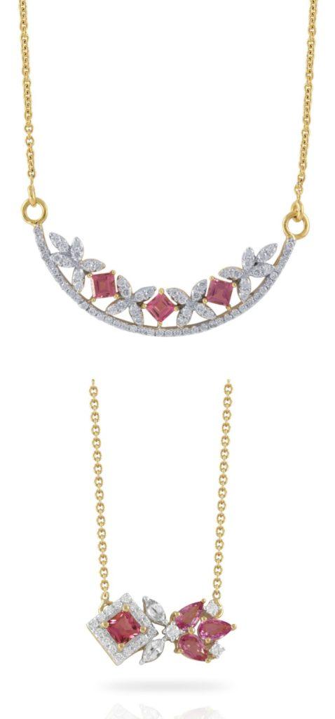 Two beautiful gemstone and diamond necklaces from Ayva jewelry