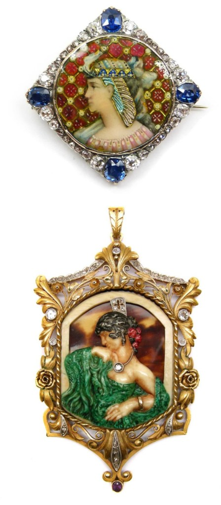 Two examples of antique portrait jewelry. The first is a beautiful Victorian Egyptian revival brooch pendant in enamel with sapphires and diamonds and the second is an Art Nouveau pendant by Fuset y Grau.