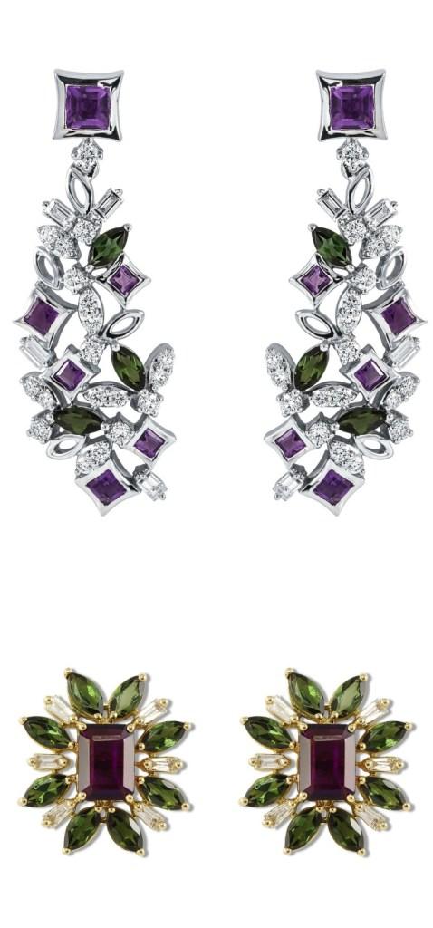 Two stunning pairs of diamond and gemstone earrings by Ayva jewelry