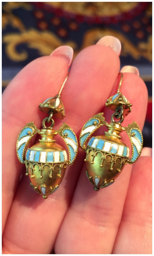 A stunning pair of antique Victorian Etruscan revival earrings at Maryanntiques.
