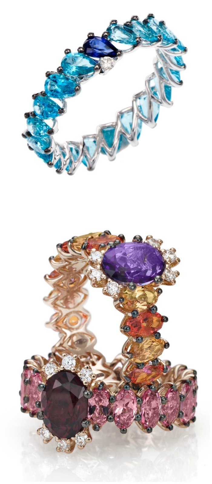 Spectacular gold and colored gemstone rings from Stefan Hafner's Aria collection.