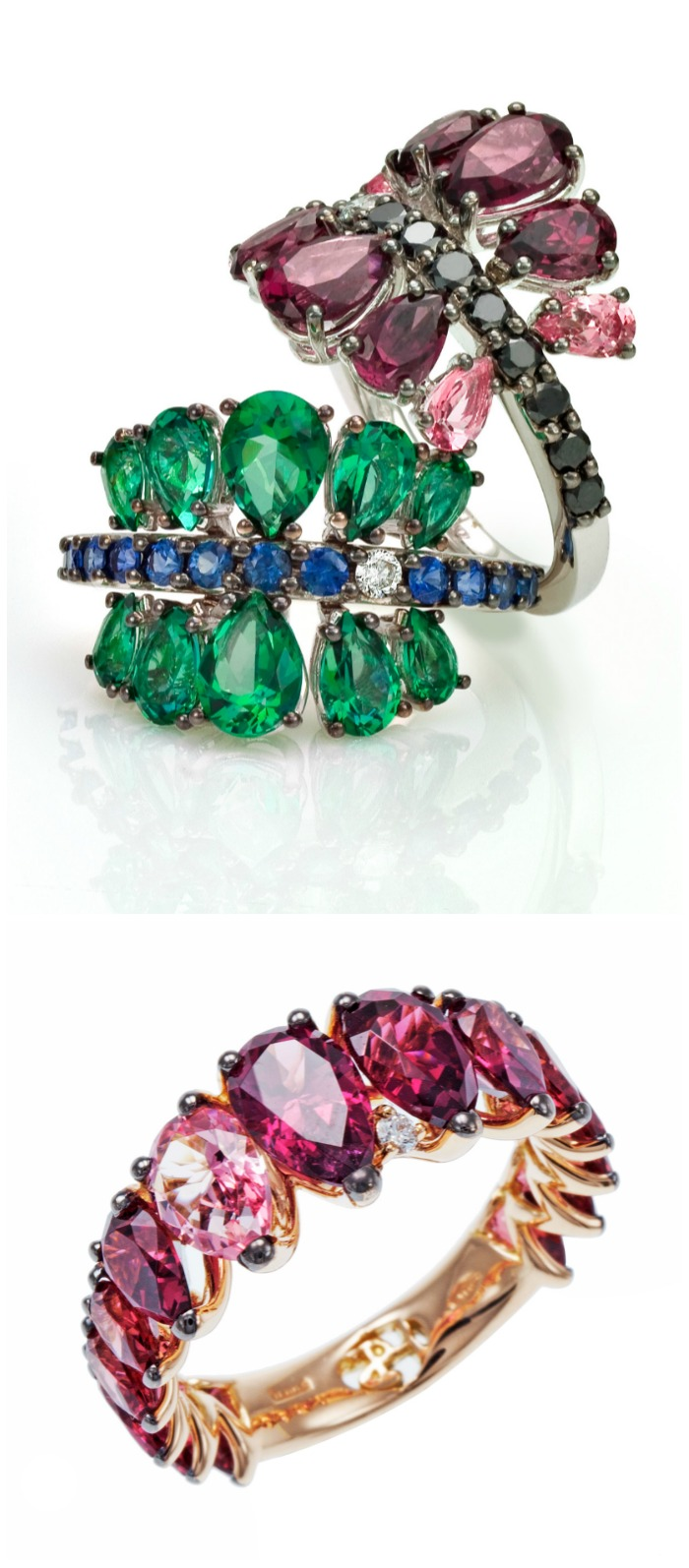 Spectacular gold and colorful gemstone rings from Stefan Hafner's Aria collection. So pretty!