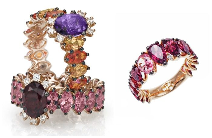 Spectacular gold and gemstone cocktail rings from Stefan Hafner's Aria collection.