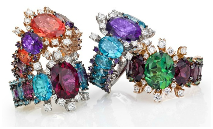 Spectacular gold and gemstone rings from Stefan Hafner's Aria collection.