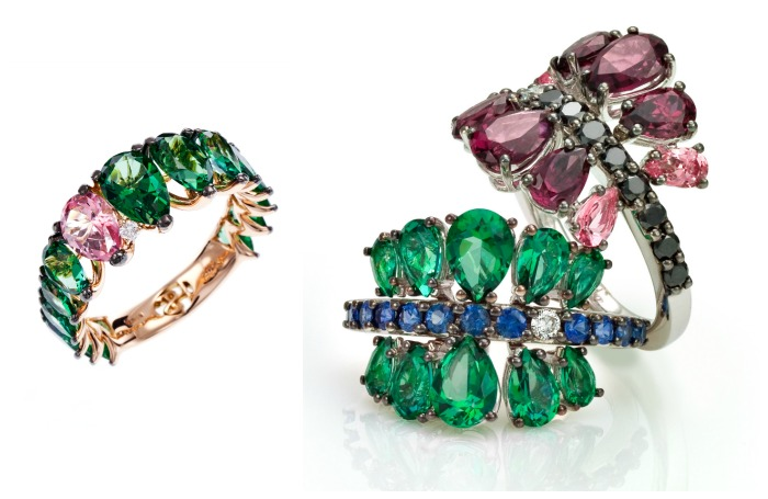 Spectacularly fabulous gold and gemstone cocktail rings from Stefan Hafner's Aria collection.