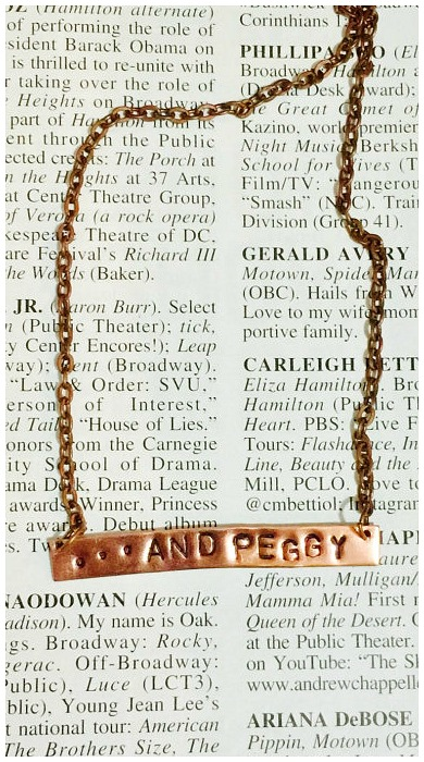 ...and Peggy. A necklace in honor of the least talked-about Schuyler sister. Click through for more Hamilton jewelry.