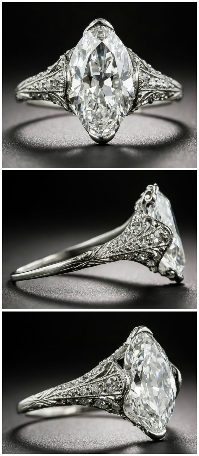 A beautiful antique engagement ring from Tiffany and Co, from the early 1900's. The center stone is just over 3 carats and it's perfect.