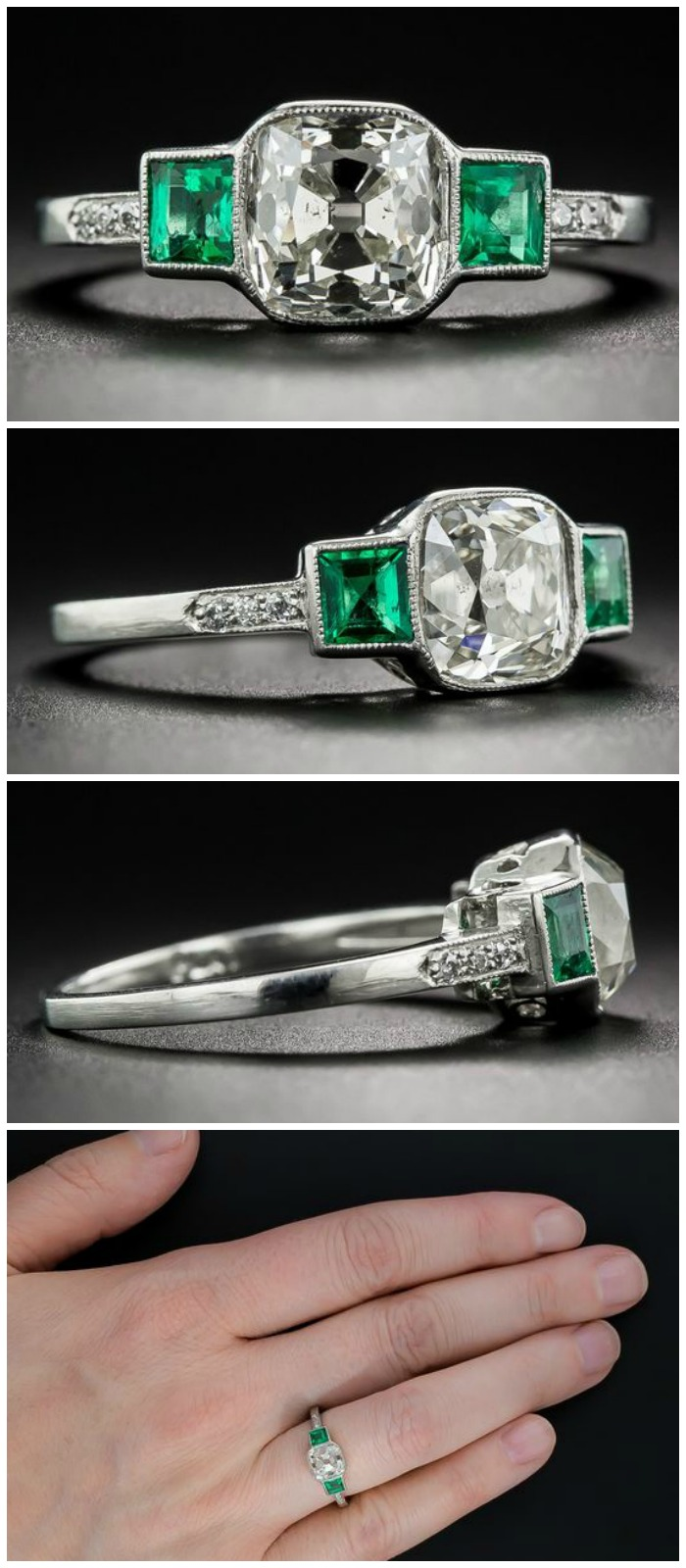 A beautiful antique engagement ring with a cushion-cut diamond sandwiched between two lovely emeralds. Art Deco, circa 1915-1920.