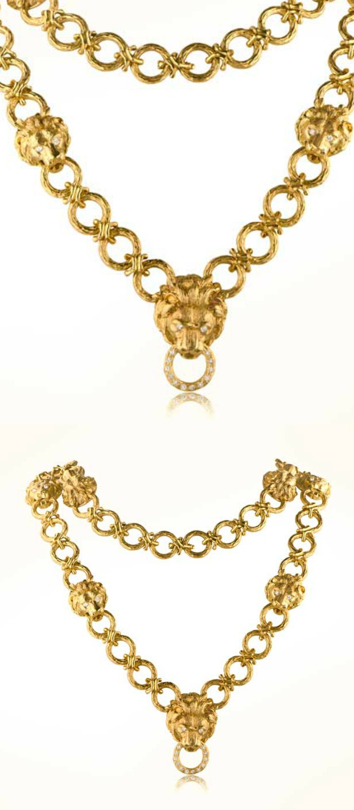 A fabulous 1960's gold necklace by Van Cleef and Arpels, with a lion head motif. At M. Khordipour.