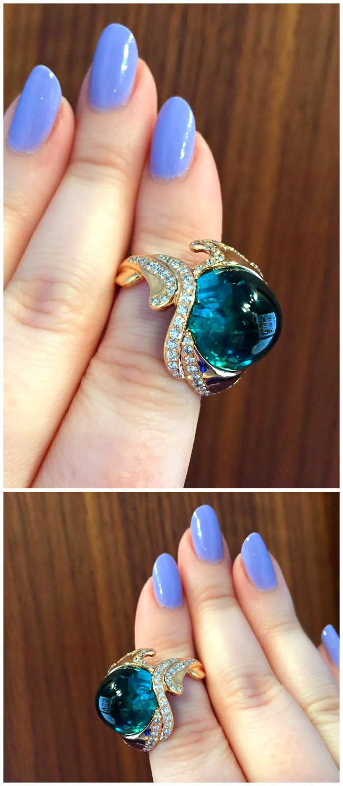 A glorious tourmaline cabochon ring made by Hunt Country Jewelers.