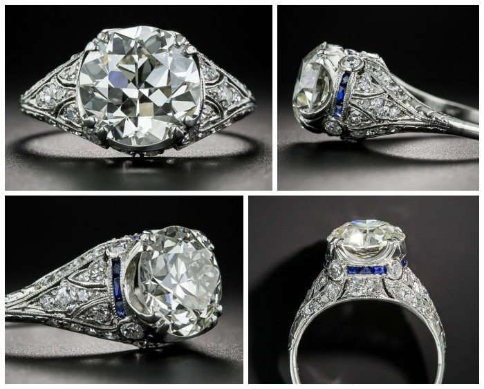 A spectacular 3.10 ct diamond Art Deco engagement ring with calibre sapphires. I love antique engagement rings.