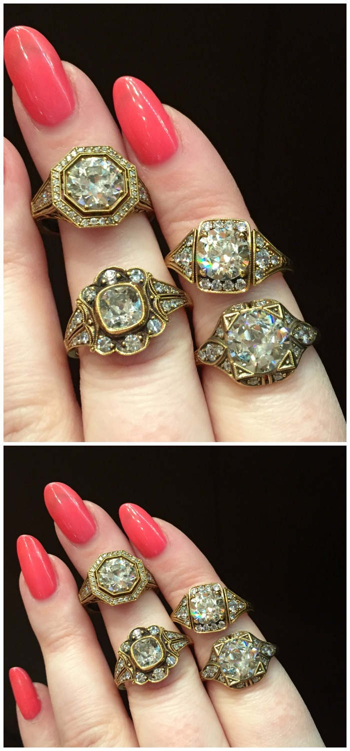 Beautiful new engagement rings from Single Stone! I love the way the diamonds look in their oxidized gold settings.
