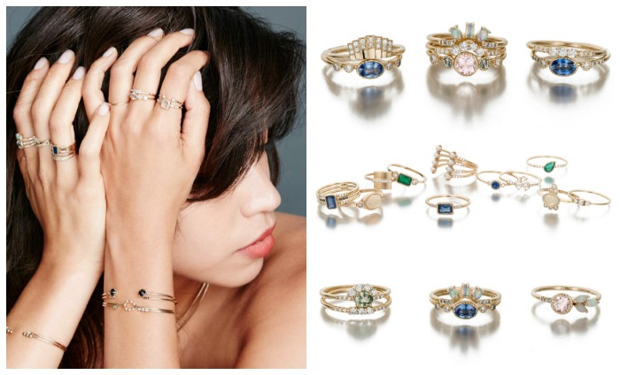 Jennie Kwon's jewelry - all made in 14k rose or yellow gold, with gemstones like emeralds, sapphires, opals, and diamonds - is perfect for layering.