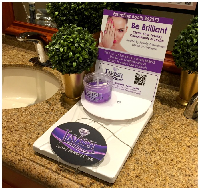Jewelry cleaning stations in the bathroom at JCK Las Vegas.