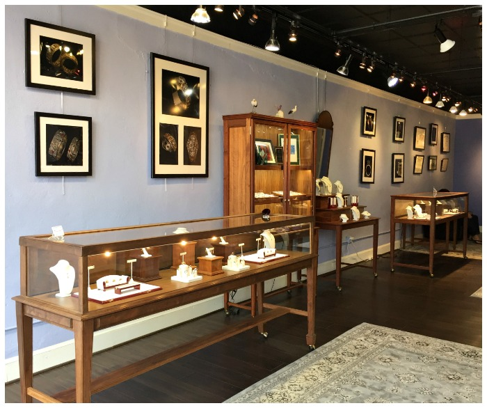 The beautiful, gallery-like space of the family owned Hunt Country Jewelers in picturesque Purcellville, Virginia.
