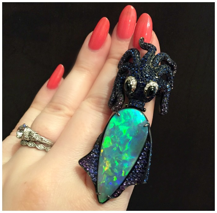 The most delightful Lydia Courteille ring, with a huge, glorious opal.