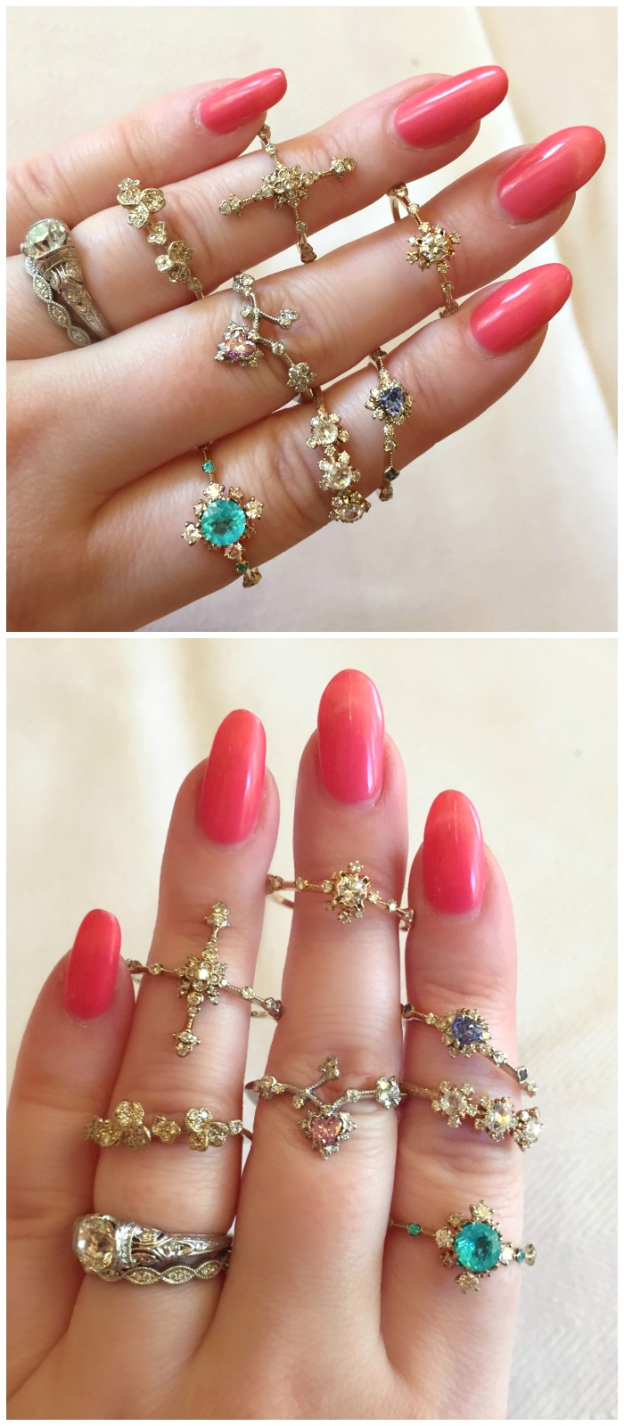 The prettiest little rings you ever did see. With diamonds and colored gemstones, by Kataoka.