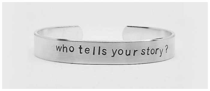 This stamped cuff bears one of the most memorable lyrics from the musical Hamilton
