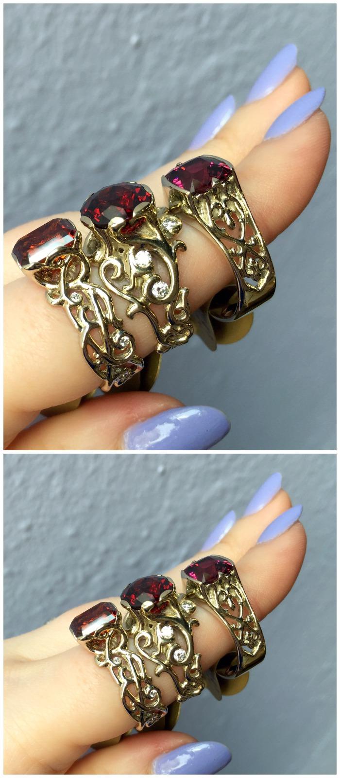 Three beautiful garnet rings made by Hunt Country Jewelers.