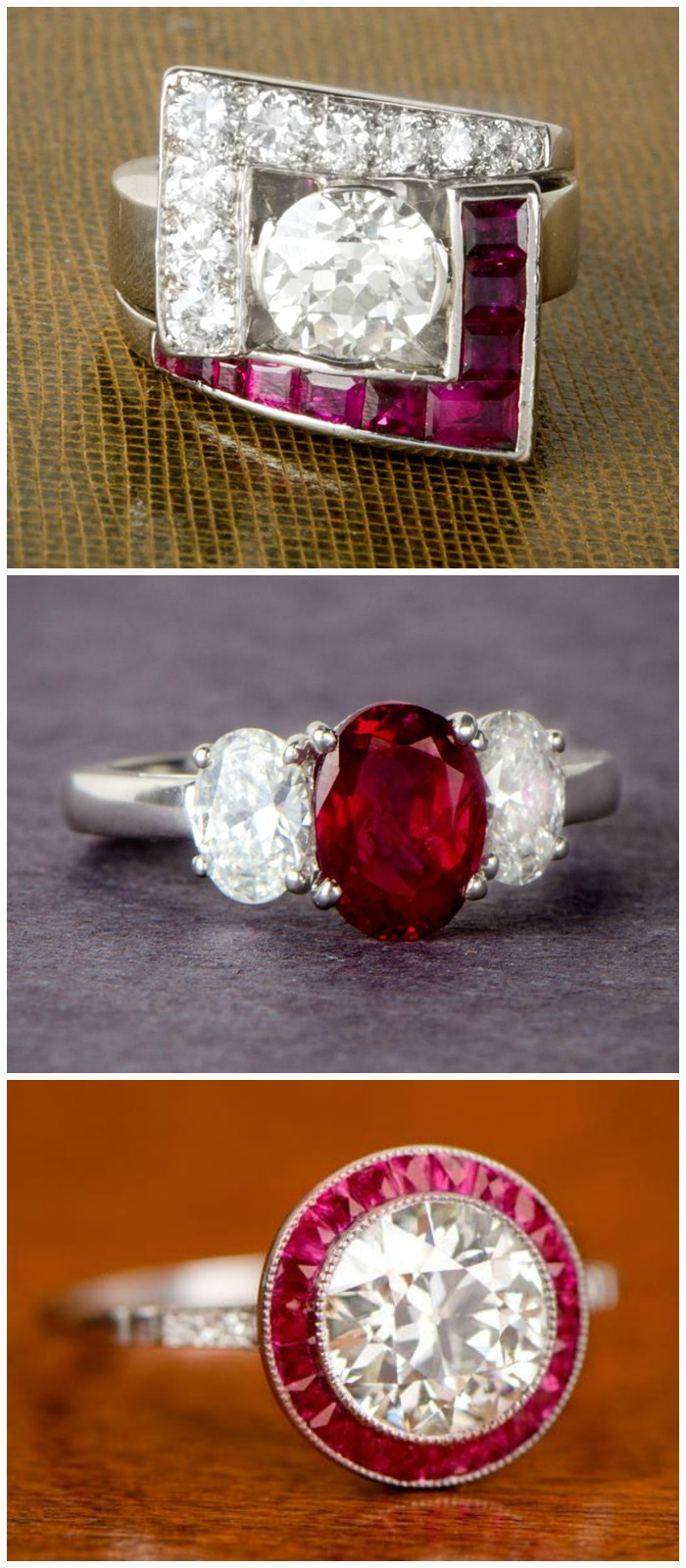 Three beautiful rings with rubies from Estate Diamond Jewelry.