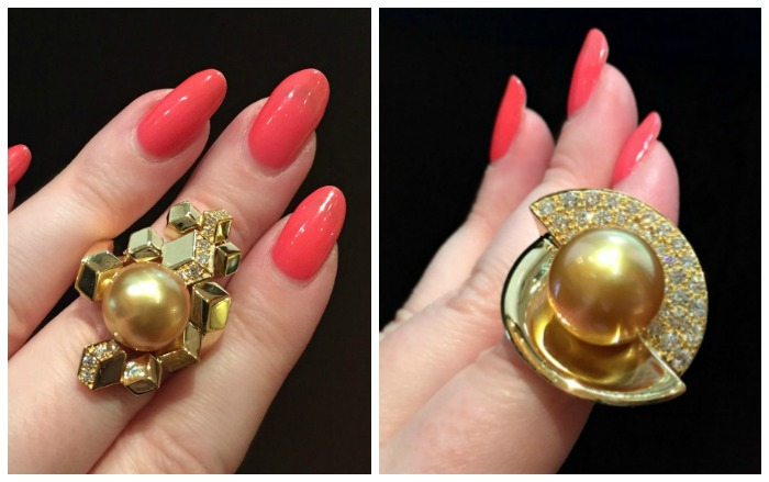 Two glorious natural golden pearl and diamond rings by Jewelmer.