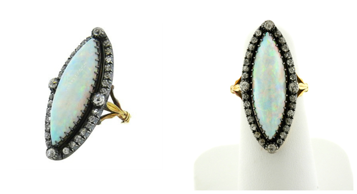 A beautiful antique opal and diamond ring in silver-topped gold. At Oakgem.