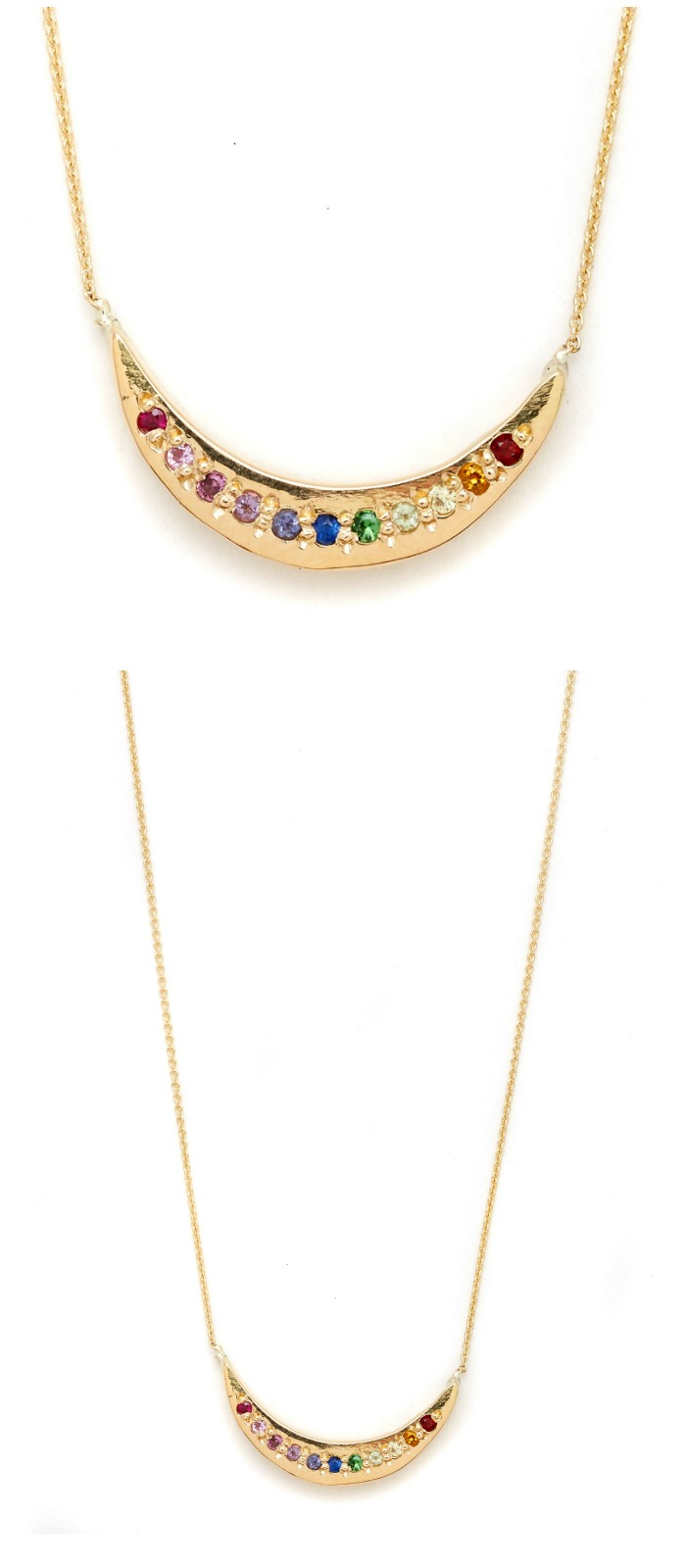 A beautiful rainbow gemstone necklace in gold by Elisa Solomon.