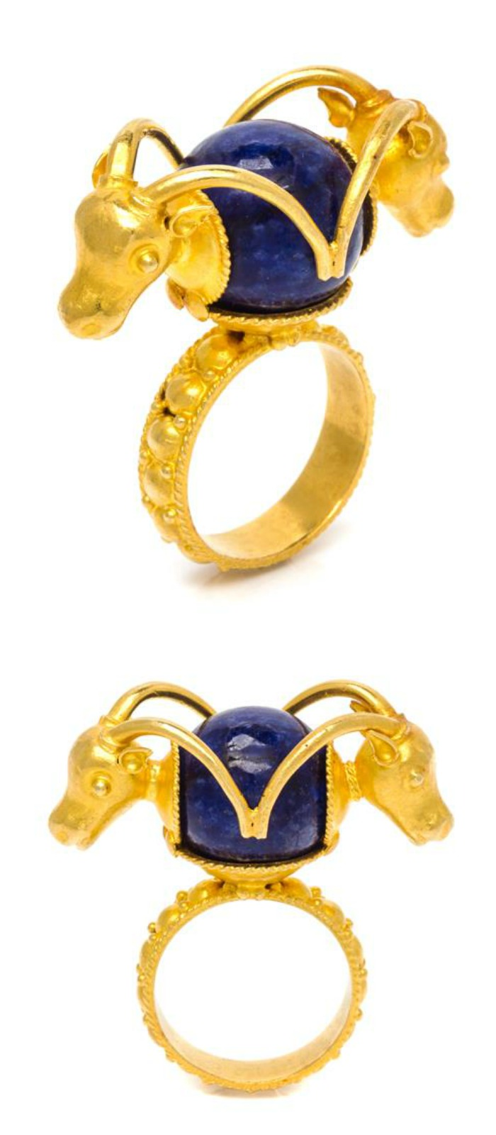 A high carat gold and lapis ring with a ram's head design.