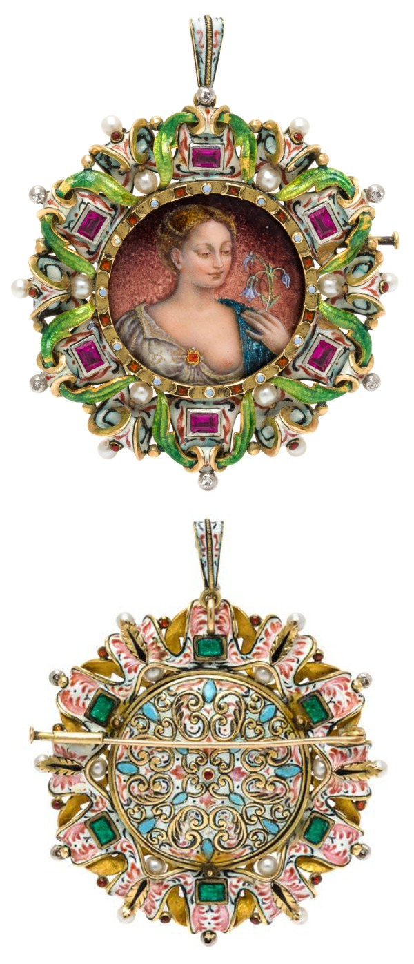 A stunning Victorian era Renaissance revival pendant brooch in enamel with diamonds and rubies. From Leslie Hindman's upcoming September jewelry auction.