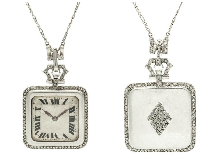 An Art Deco Platinum and Diamond Pendant Watch Necklace, French.